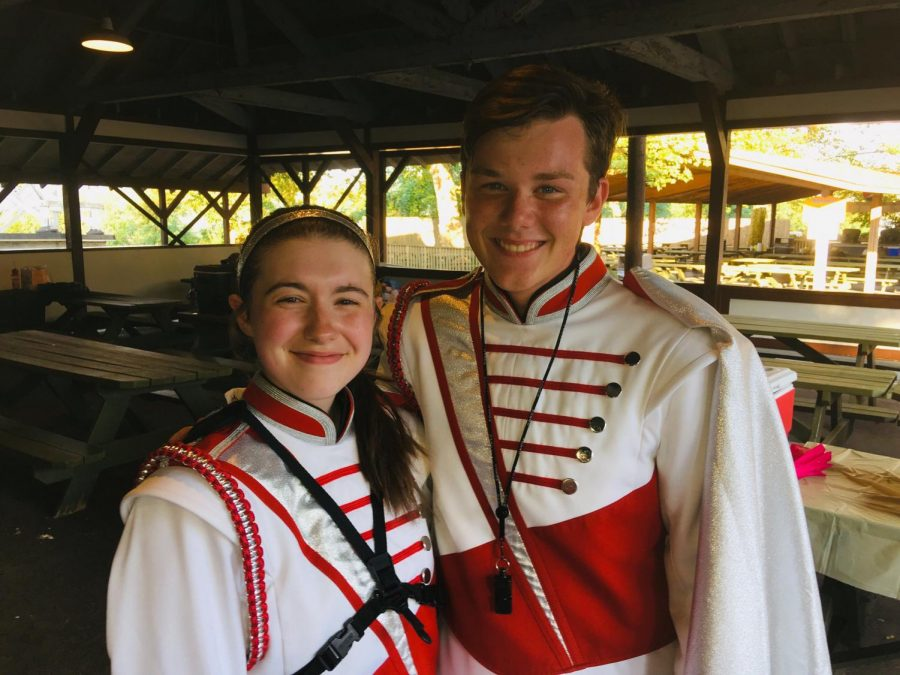 Drum+Majors%2C+Madi+Barr+and+Mason+Johnston%2C+work+as+a+team+to+lead+the+band.