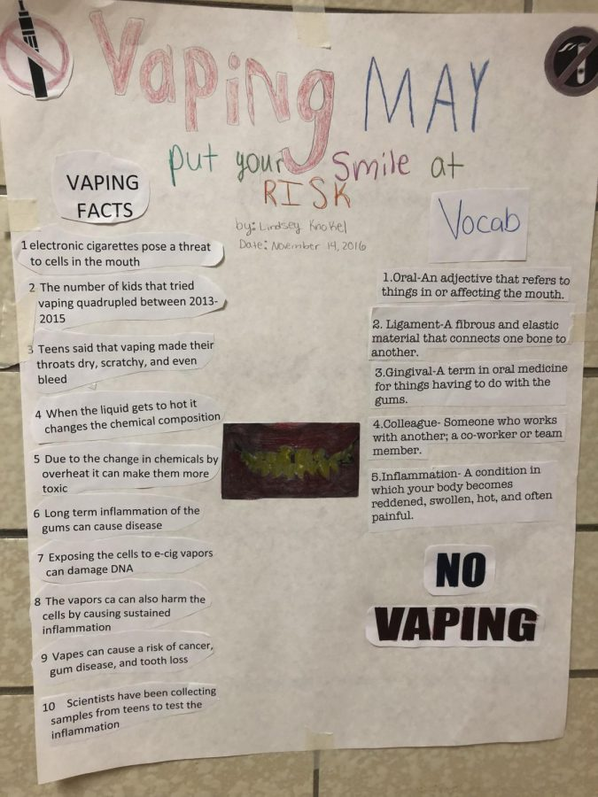 Health+classes+made+anti-vaping+posters+that+are+in+hallways%2C+the+cafeteria%2C+and+classrooms.