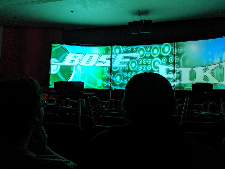 Students watch Motivational Media Assemblies's video in the high school auditorium.