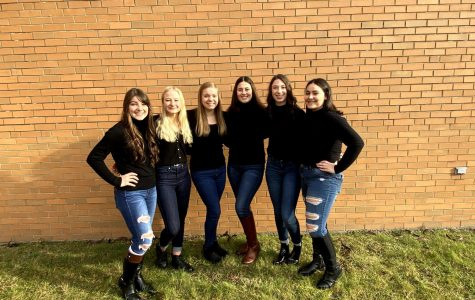 The Winter Queen's Court gather for a picture in the high school courtyard. Members are: (Left to Right) Madison Stonbraker, Allison Doverspike, Kylie Rosenberger, Camden Emhoff, Holly Hartman, and Elizabeth Stello