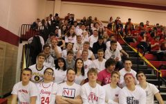 The student section during last year's whiteout-themed basketball game.