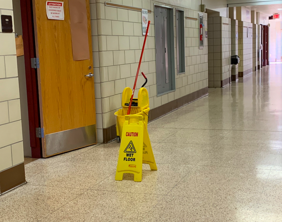 While a janitor is at work, many students are at home, unaware of the cleaning that has yet to be done.