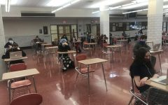 Kurt Cessna's sixth period Study Hall practices social distancing in the Cafeteria.